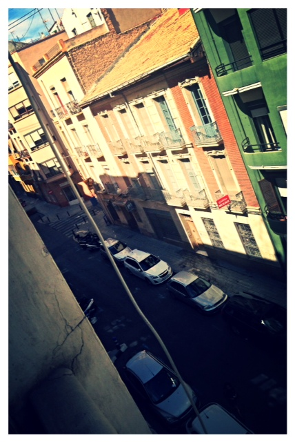 The view of the street from my apartment window.